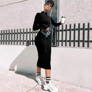 Dresses & Skirts - Black Mock Neck Long Sleeves Zip Up Bodycon Dress